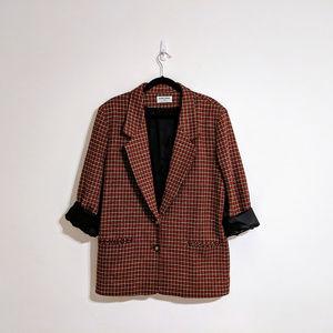 Vintage Red and Tan Plaid Blazer